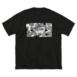 アジT メガネカイマン 黒 Big silhouette T-shirts
