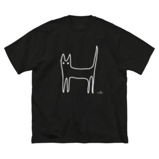 M✧Lovelo(エム・ラヴロ)の一筆書きぢゃないょ♪(しろ) Big silhouette T-shirts