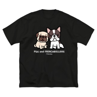PUG and FRENCHBULLDOG / 濃い色用 Big silhouette T-shirts