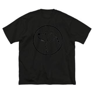 ゴールデン・レトリーバー〈白ふち・円〉 Big silhouette T-shirts