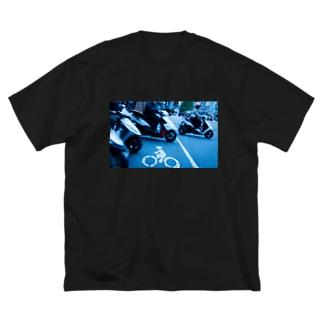 台北の道路表示(自転車) Big silhouette T-shirts