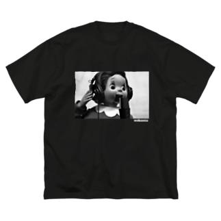 おしゃスタふくちゃんTシャツ ロゴ白色ver. Big silhouette T-shirts