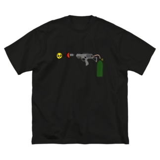 葉隠お宮のかくれがのぴえん放射器 Big silhouette T-shirts