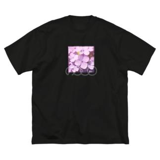 あじさい紫❶ Big silhouette T-shirts