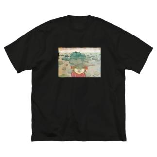 蹲(つくばい) Big silhouette T-shirts