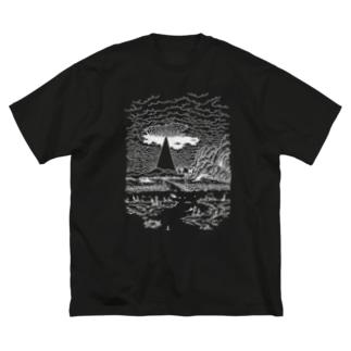 まばたくびの白い夢 Big silhouette T-shirts