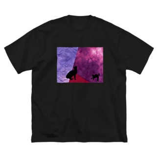 黒猫ワイン🍷 Big silhouette T-shirts