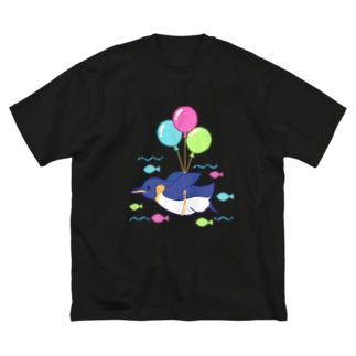 空飛ぶペンギンさん Big silhouette T-shirts