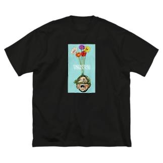 頭からガーベラで阿波おどり Big silhouette T-shirts
