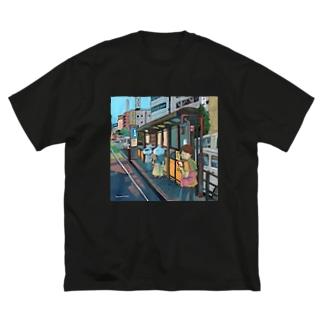 電停 Big silhouette T-shirts
