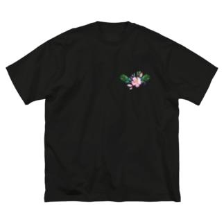 水彩気分の花柄 Big silhouette T-shirts