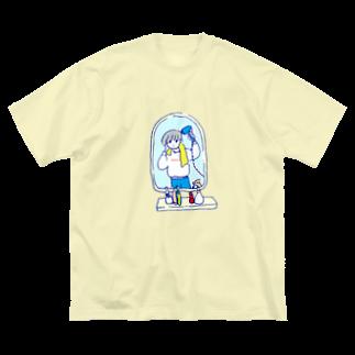 かしわのドライヤータイム Big silhouette T-shirts