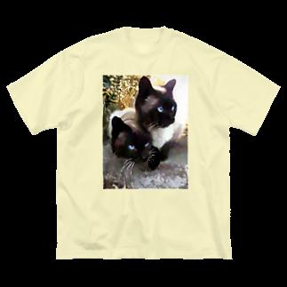 ちばっちょ【ち畳工房&猫ねこパラダイス】のシャム夫&シャム子Art Big silhouette T-shirts