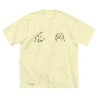 サメとメンフクロウ Big silhouette T-shirts