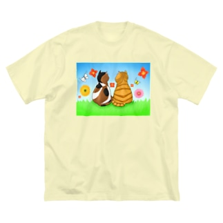 仲良し猫さん Big silhouette T-shirts