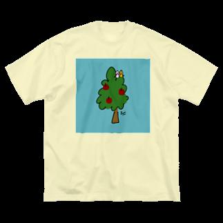 万枚ちゃんのツリー Big silhouette T-shirts