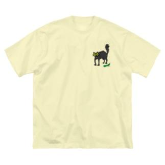 キュウリに驚く黒猫 Big silhouette T-shirts