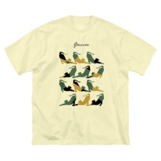 Yawn/あくび猫シルエット Big silhouette T-shirts