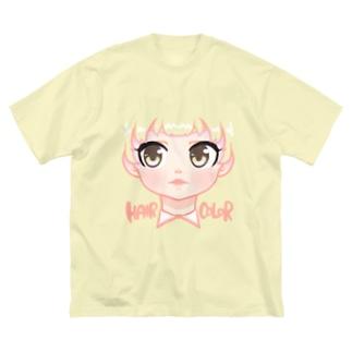 シャツの色でヘアカラーが変わる女の子 Big silhouette T-shirts