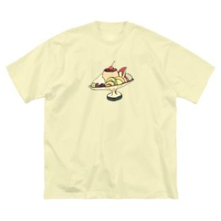 気ままに創作 よろず堂のプリン・ア・ラ・モード レトロ Big silhouette T-shirts