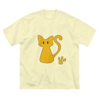 安定感企画 イラスト編No.4 茶枠猫 Big silhouette T-shirts