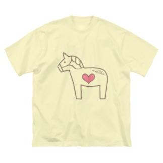 馬が大好き! Big silhouette T-shirts
