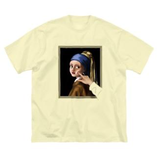 イラッとする真珠の耳飾りの少女 Big silhouette T-shirts