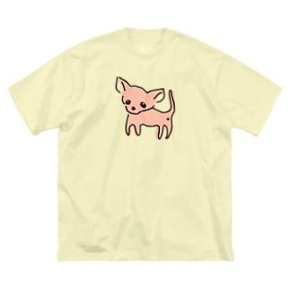 akane_artのゆるチワワ(オレンジ) Big silhouette T-shirts