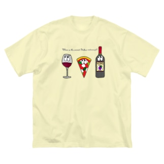 ピザ/モンスター Big silhouette T-shirts