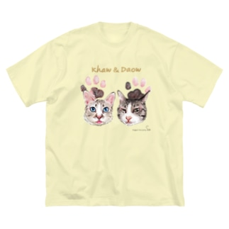うちの子にくきゅうポートレート★カーオ&ダーオ Big silhouette T-shirts