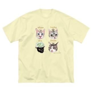 <うちの子+にくきゅう*ポートレート>KHAW & DAOW&BEA&LUCKY Big silhouette T-shirts