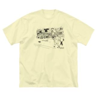 新大久保路地 Big silhouette T-shirts