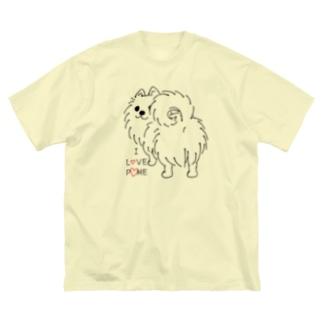 *suzuriDeMONYAAT*のCT83いつも見ているポメラニアンG_*I LOVE POME*イラストサイズ大きいver. Big T-shirts