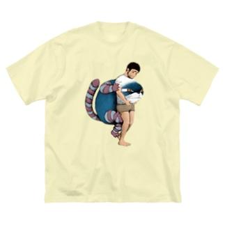 通り抜ける猫 Big silhouette T-shirts