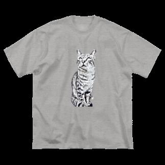 ちばっちょ【ち畳工房&猫ねこパラダイス】のトラ猫トラ君 Big silhouette T-shirts