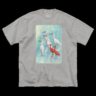 TeaDrop.Cの水辺のトキ Big silhouette T-shirts