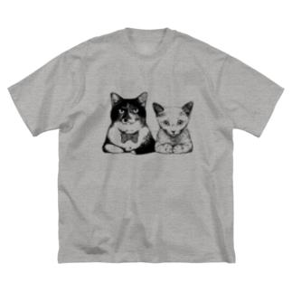 かしこまったマオとライカ Big silhouette T-shirts
