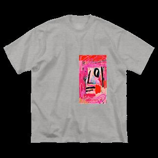 FRESH⭐︎DRAWING 2020のさくら色のportrait Big silhouette T-shirts