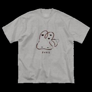 🍀osanpo*march🍀のおふとんうさぎとゆったりタイム Big silhouette T-shirts