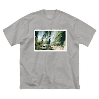 みどりの風景 Big silhouette T-shirts