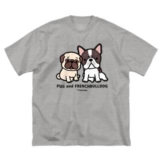 PUG and FRENCHBULLDOG / 薄い色用 Big silhouette T-shirts