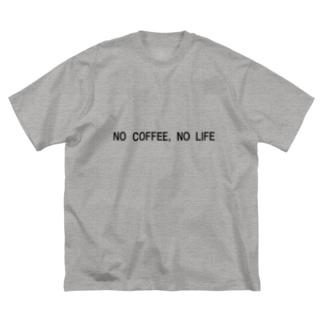 NO COFFE,NO LIFE Big silhouette T-shirts