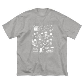 ぶれいくたいむ・白 Big silhouette T-shirts