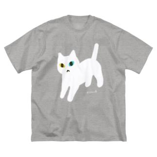 オッドアイな白ネコちゃん Big silhouette T-shirts