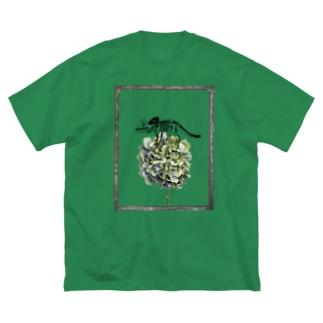 トリケラトプス骨格と紫陽花 Big silhouette T-shirts