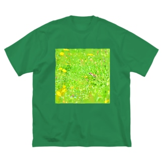 スズメとタンポポ Big silhouette T-shirts