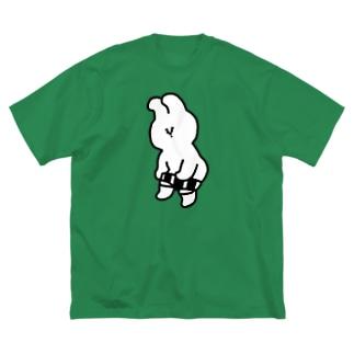 アワジトモミのオープニングうさぎ Big silhouette T-shirts
