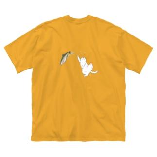 白猫とニジマス Big silhouette T-shirts