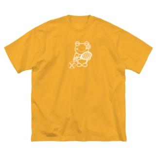 あゆ@ LINEスタンプ発売中のテニス×かえるさん(白黒) Big silhouette T-shirts