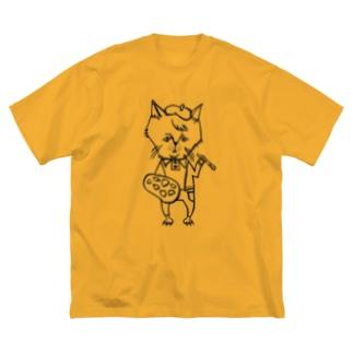 おじさまネコ(絵描き/白黒) Big silhouette T-shirts